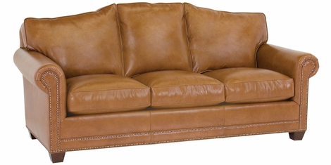 Leather Camel Back Sofa W Nailhead Trim Amp Rolled Arms