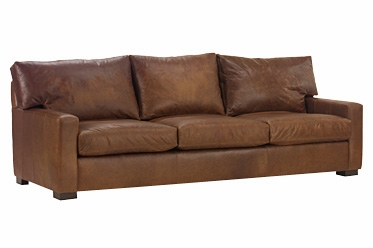 Oversized Deep Seated Leather Loveseat W Track Arms