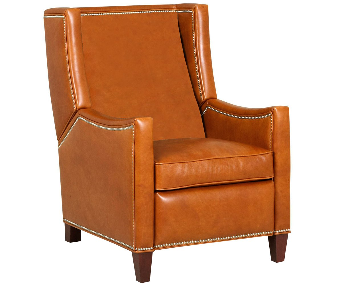 Heywood Wing Back Leather Recliner With Nailhead Trim