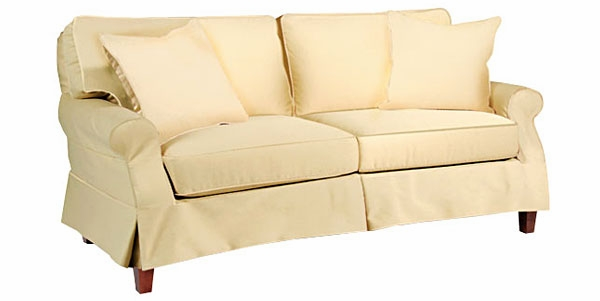 slipcovered skirted pillow back sleeper sofa