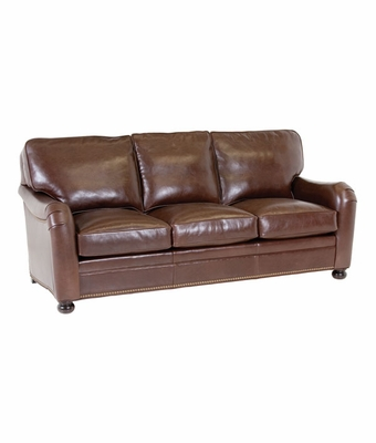 leather pillow back sofa w english arms nailhead trim