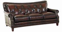 Irvin Leather Tufted Back Sofa With Nailhead Trim