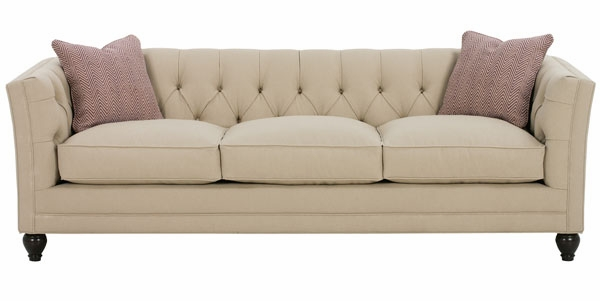Upholstered Tufted Back Apartment Sofa With Tuxedo Arms