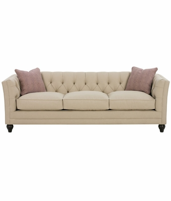Upholstered Tufted-Back Apartment Sofa w/ Tuxedo Arms