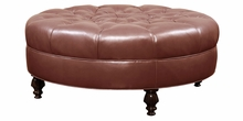 Ives Leather Round Tufted Ottoman