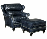 James Leather Bustle Wingback Accent Chair