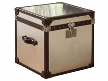 """Jasper """"Ready To Ship"""" Lift Top Stainless Steel Storage Side Table"""