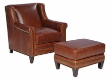 "Joshua ""Quick Ship"" Leather Wing Back Accent Chair"