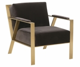 Karina Modern Fabric Accent Chair w/ Gold Metal Frame