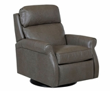 Kirby 360 Degree Swivel Leather Recliner With Pop Up Headrest