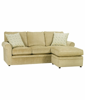 Kyle Apartment Sized Sectional Sleeper Sofa w/ Chaise & Rolled Arms