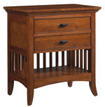 Lancaster Modern Shaker 2-Drawer Nightstand w/ Power Outlet