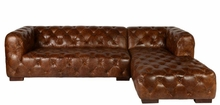 "Kingsley ""Ready To Ship"" Leather Chesterfield Sectional With Chaise"