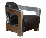 "Leonard ""Quick Ship"" Stainless Steel Leather Coupe Chair"