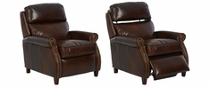 Lionel High Leg Pop Up Pillow Back Leather Recliner