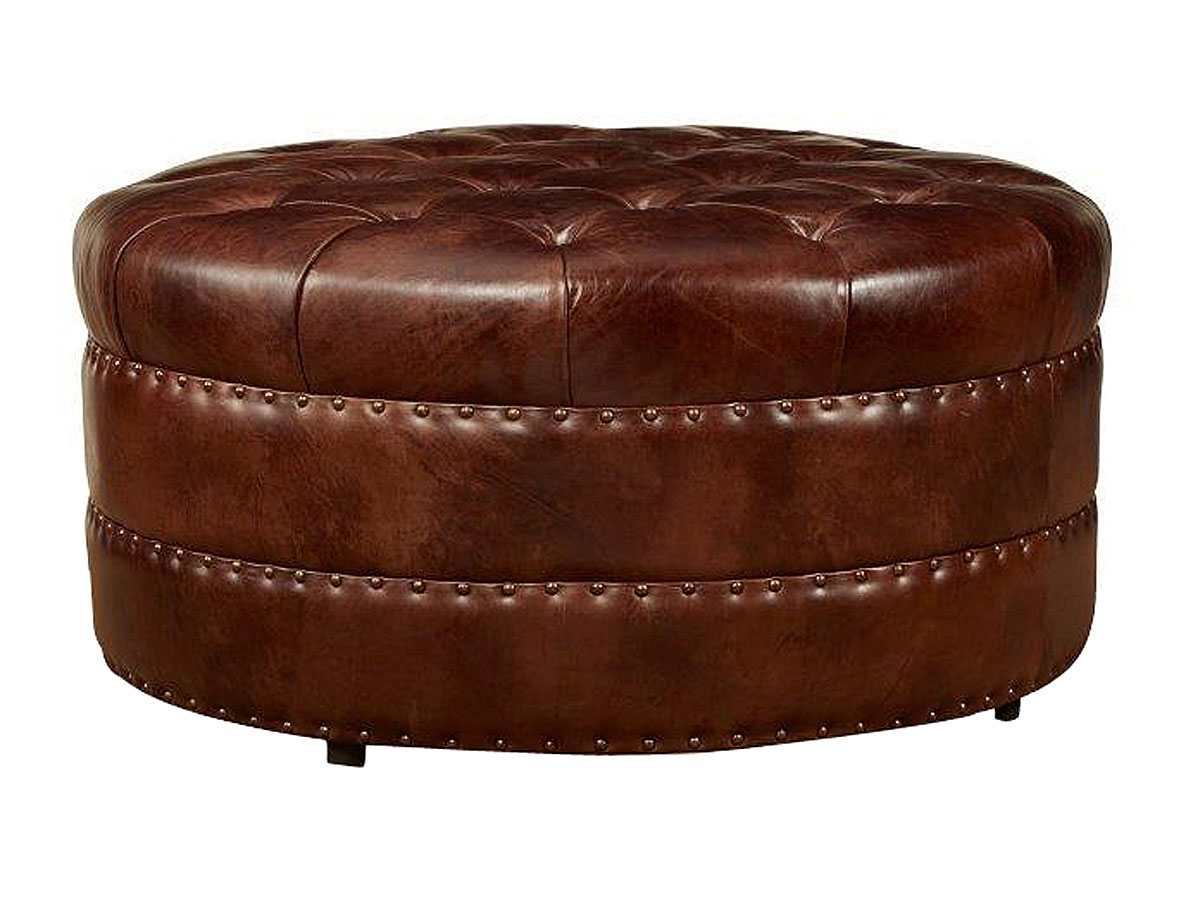 Leather Chairs With Footstool : lockwood quick ship round tufted leather ottoman 3 from www.tehroony.com size 1200 x 900 jpeg 124kB