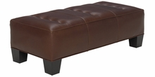 Logan Leather Upholstered Cocktail Bedroom Bench Ottoman