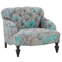 """Louise """"Designer Style"""" English Arm Fabric Upholstered Chair"""