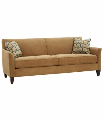Fabric Upholstered Tight Back Wing Arm Queen Sleeper Sofa