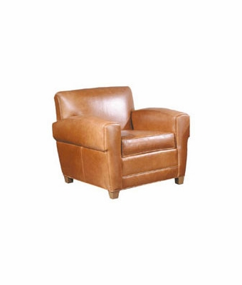 "Madison ""Designer Style"" Art Deco Low Profile Leather Club Chair"