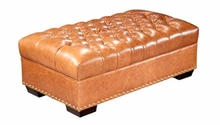 Malcolm Long Button Tufted Leather Coffee Table Bench
