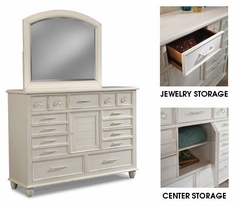 Malibu White Dresser With Arched Mirror