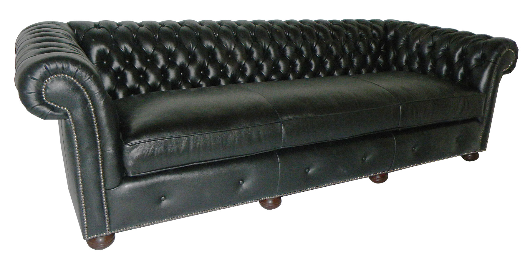 Tufted Leather Chesterfield Style Sofa Club Furniture