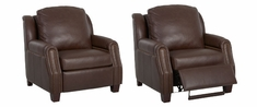 Marcus Power Inclining Leather Club Chair With Nailhead Trim