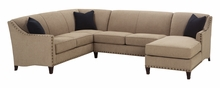 Mariana Tight Back Fabric Sectional w/ Nailhead Trim