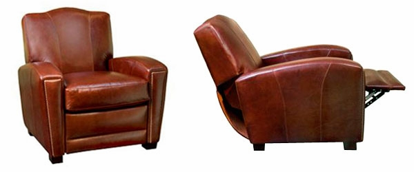 Art Deco Leather Camel Back Recliner – Leather Recliner Club Chairs