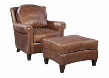 "Mathis ""Quick Ship"" Pillow Back Leather Accent Chair"