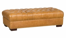Merrick Oversized Leather Button Tufted Bench