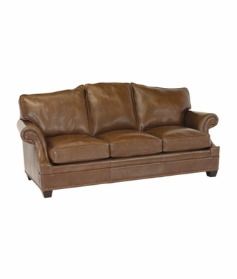 """Merrill """"Designer Style"""" Arched Back Leather Grand Scale Couch w/ Inset Arms"""