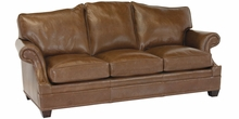 "Merrill ""Designer Style"" Arched Back Leather Grand Scale Couch w/ Inset Arms"