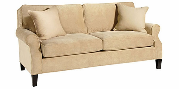 fabric pillow back apartment size sofa w roll arms