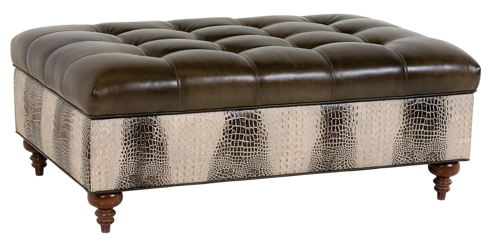 Ottomans Brussels Brown Bonded Leather Storage Chest: Tufted Rectangular Leather Storage Ottoman