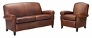 "Newport ""Designer Style"" Leather Full Studio Sleeper Sofa & Recliner Set"