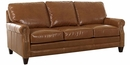 Oswald Classic Rolled Arm Leather Couch w/ Decorative Nailhead Trim
