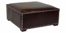 Lorenzo Large Square Leather Ottoman With Nail Trim