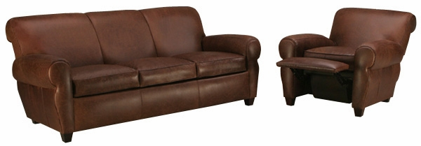 Leather Rolled Back Queen Sleeper Sofa And Recliner Set