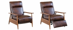 Peter Mid-Century Modern Leather Reclining Club Chair