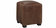 Peyton Leather Upholstered Cube Ottoman
