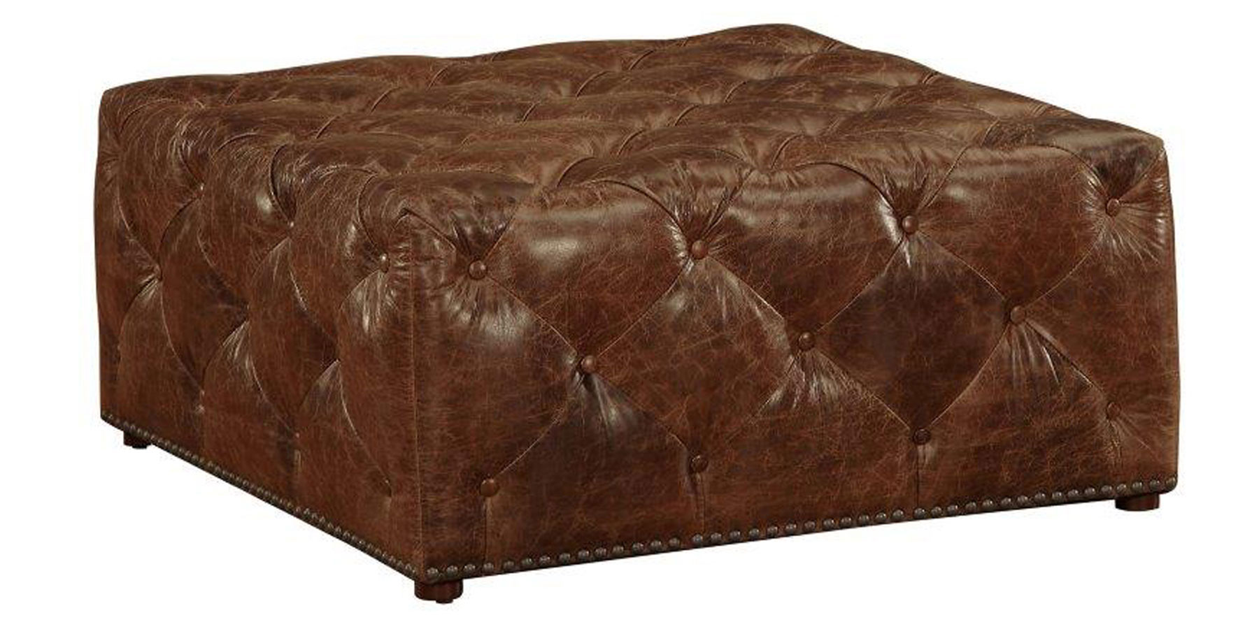 Porter Ready To Ship 40 Inch Square Leather Tufted