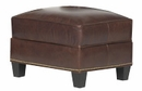 "Prescott ""Designer Style"" Leather Ottoman w/ Antiqued Brass Nailhead Trim"