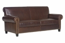 "Prescott ""Designer Style"" Traditional Two Seat Leather Sofa w/ Antiqued Brass Nailhead Trim"