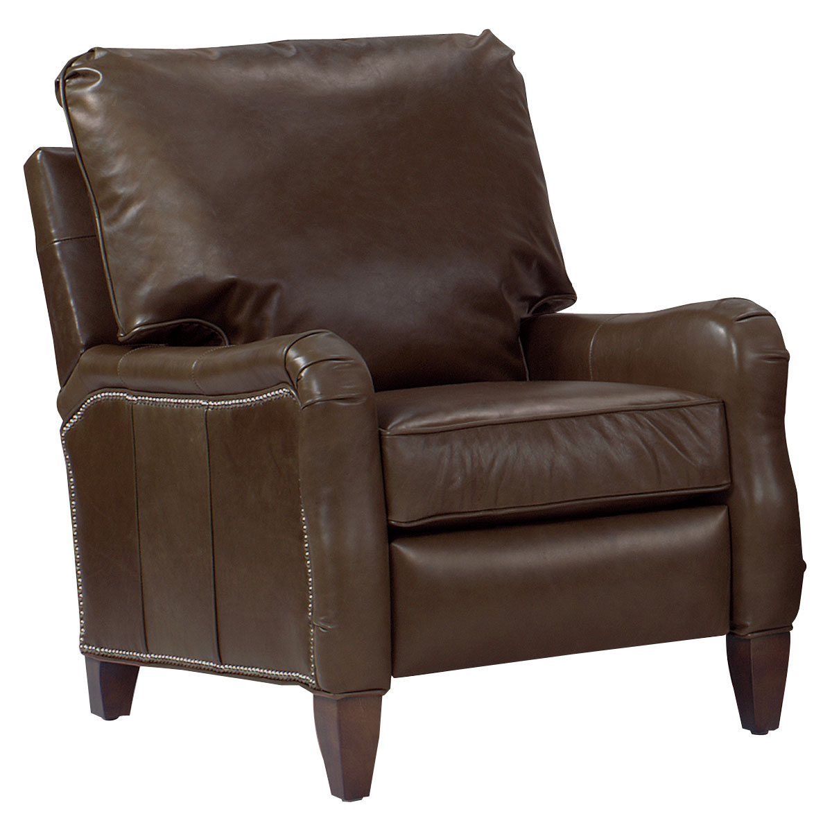 Traditional Pillow Back English Arm Leather Recliner