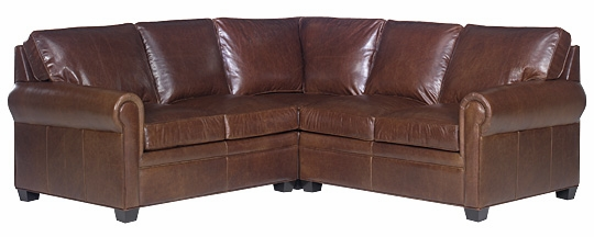Leather Pillow Back Traditional Sectional Sofa Club