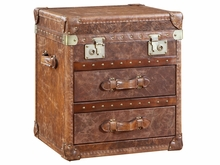 """Rollins """"Ready To Ship"""" 2-Drawer Leather Side Table Trunk"""
