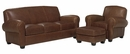 "Sebastian ""Designer Style"" Brown Leather Couch Set"