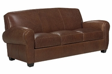 Sebastian Rolled Arm Leather Queen Sleep Couch